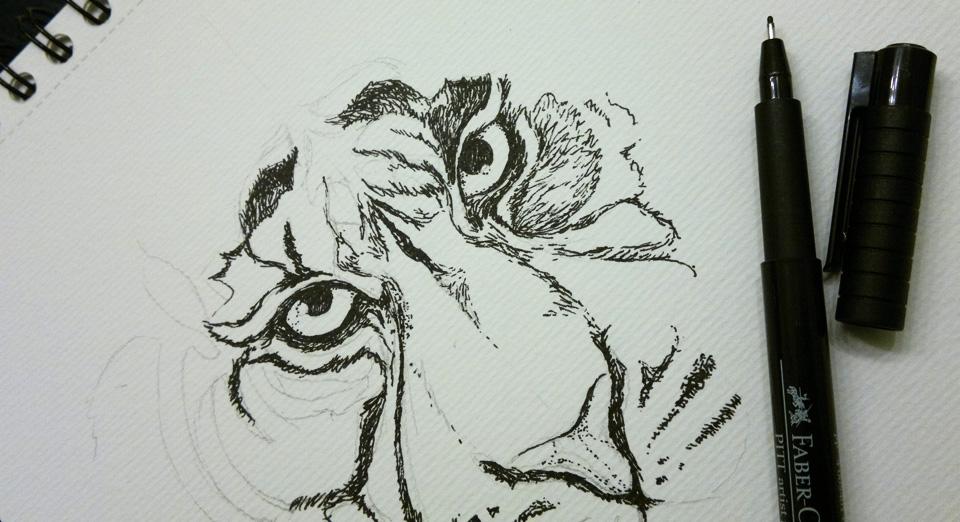 Ausarbeitung mit den Tuschestiften – Faber PITT Artist Pen Stärke S und F.