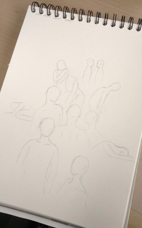 Skizze mit Bleistift zur Verteilung der einzelnen Körper in verschiedenen Haltungen.