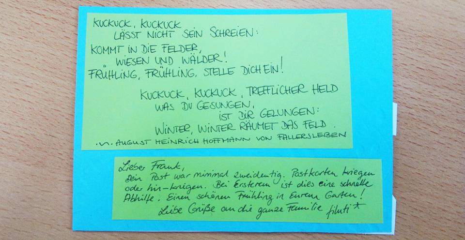 Rückseite der Karte mit dem vollständigen Gedicht von August Heinrich Hoffmann von Fallersleben.
