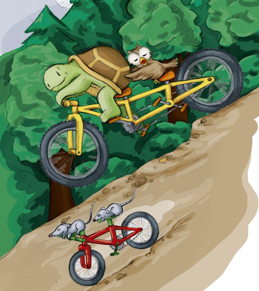 Wer ist schneller? Kröt und Schuhuu auf dem Tandem oder Bimbo und Sambo auf dem roten Mountainbike?