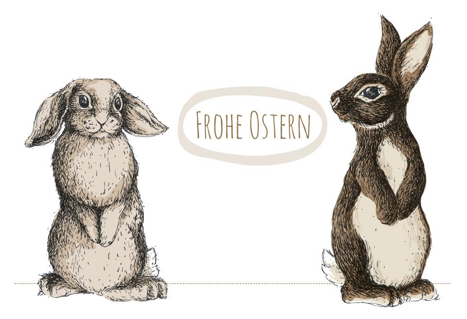 Das Kartenmotiv für Ostern coloriert in Photoshop.