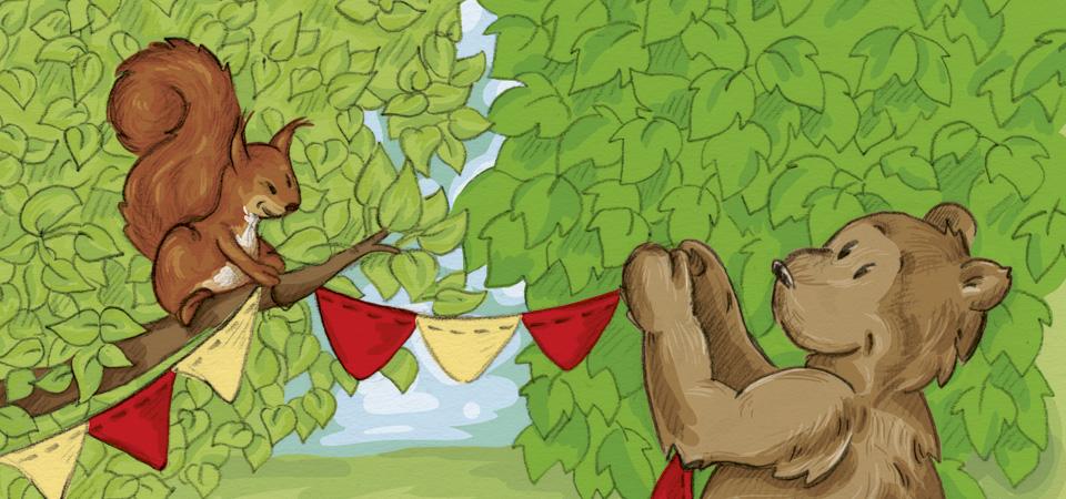 Zusammen hängen das Eichhörnchen und Brumm, der Bär, eine Wimpelgirlande auf.