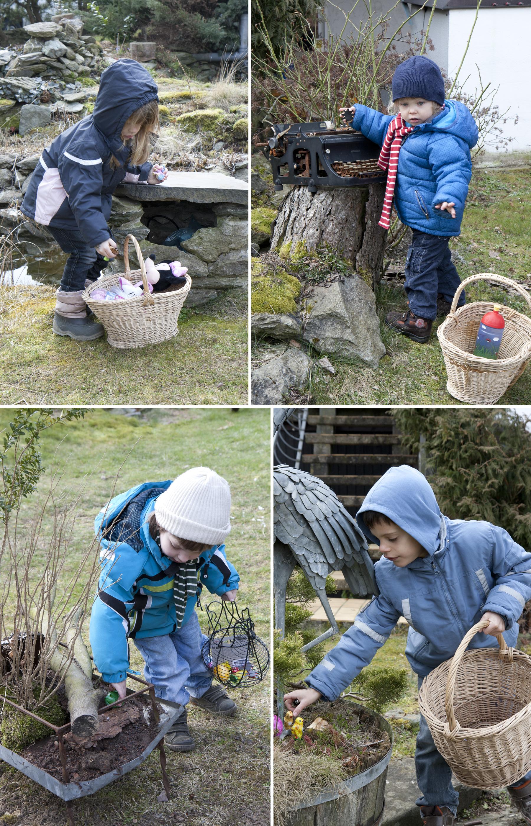 Alle vier mächtig beschäftigt beim Einsammeln der Ostereier und Hasen.