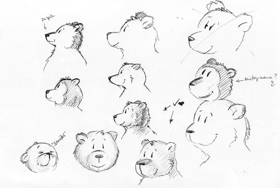 Viele Bärengesichter, zuerst im Profil.