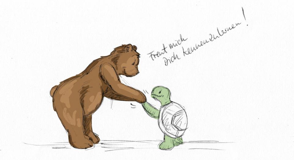 """""""Freut mich Dich kennenzulernen!"""" Brumm, der Bär und Kröt, die Schildkröte beim Händeschütteln."""