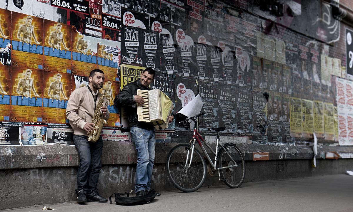 Musikalische Begleitung im Schanzenviertel.