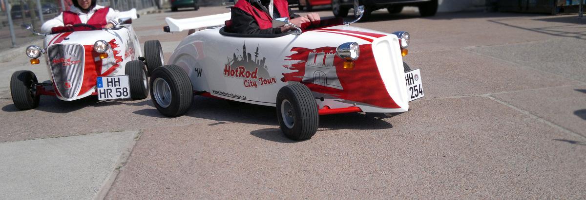 Stadttour mal anders: HotRod City Tour mit umgebauten Go-Karts.