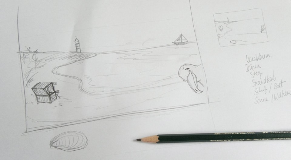 """""""Am Strand"""" – Skizze für die Aussenseite der Glückwunschkarte."""