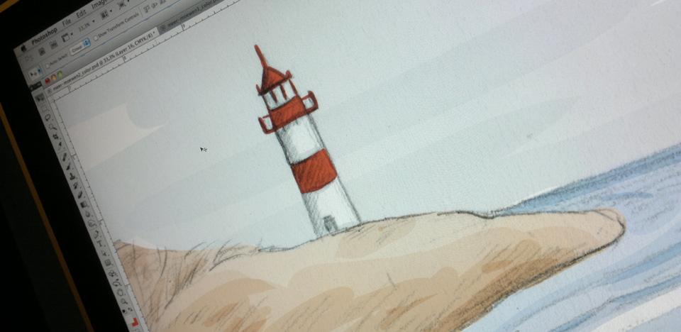 Coloration der Bleistiftskizzen in Photoshop.