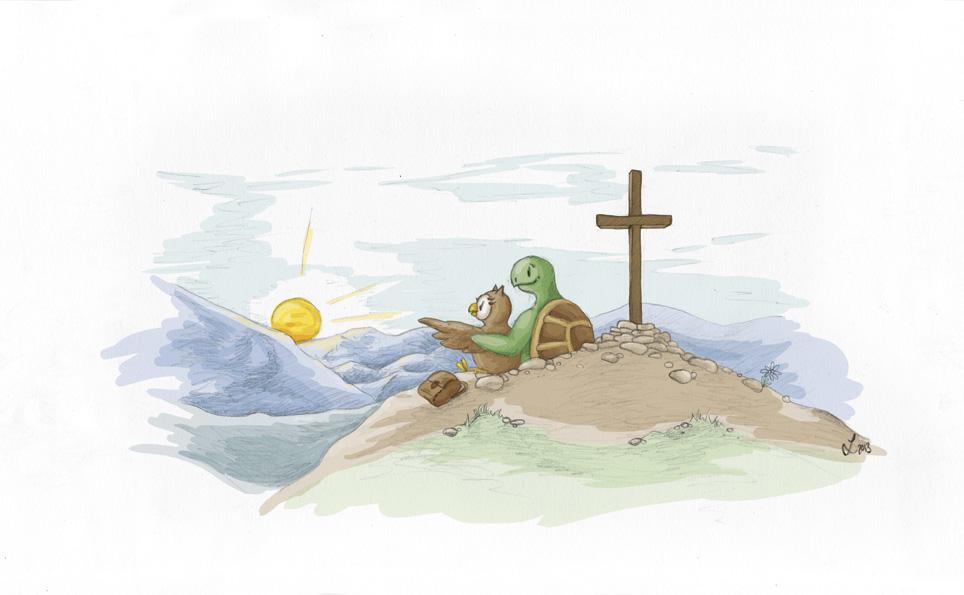 Oben am Gipfelkreuz – Zwei Freunde sind angekommen.