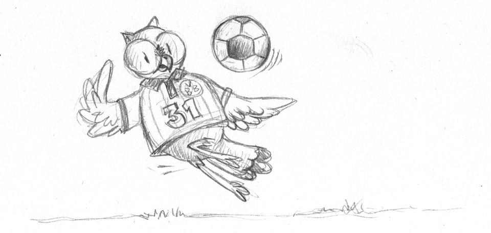 Extra sportlich - die Skizze der Fussball-Eule mit der 31.