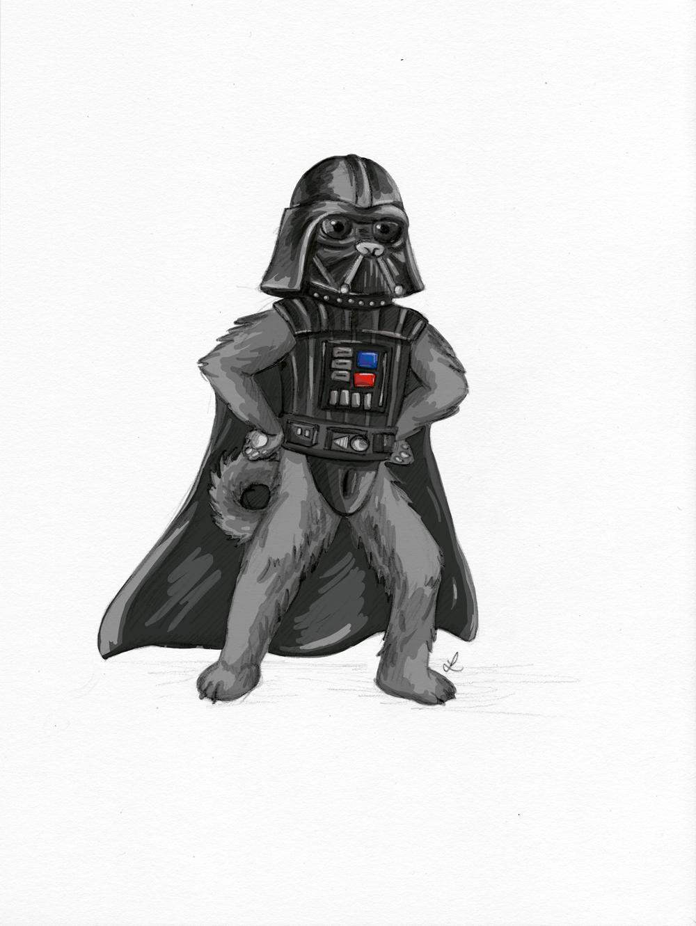 Und neu im Freundeskreis: Der Mops als Darth Vader.