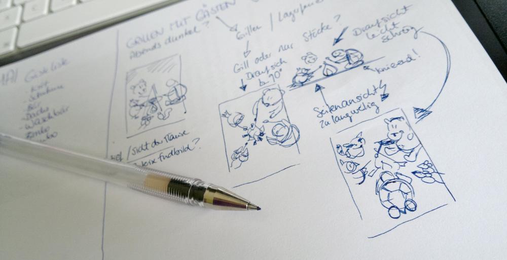 Die Skizzen zum Hochformat-Motiv: Verschiedene Perspektiven