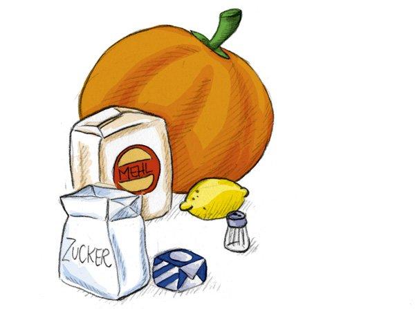 Die Zutaten für das Kürbisbrot: Mehl, Zucker, Salz, Hefe, Zitrone und natürlich ein Kürbis.