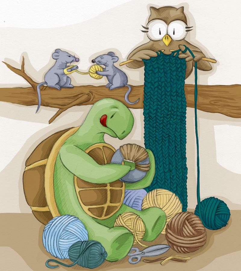 Während Schuhuu emsig strickt und die Mäuse Wolle ordentlich wieder aufwickeln, ist Kröt mit Pompoms basteln beschäftigt.