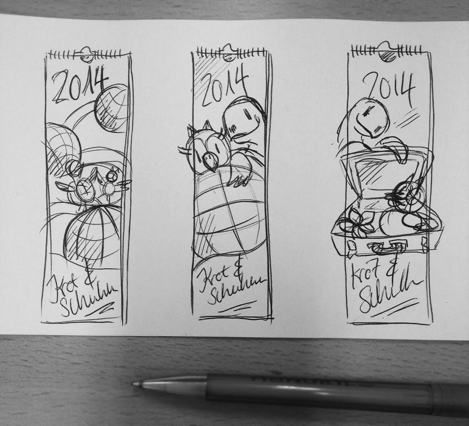 Die drei Vorschläge für das Titelblatt des Kalenders.