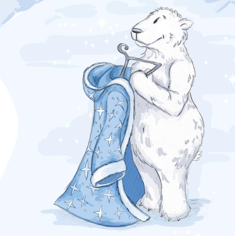 Gerade von der langen Reise zurück, hängt der Eisbär Väterchen Frost seinen Wintermantel auf.