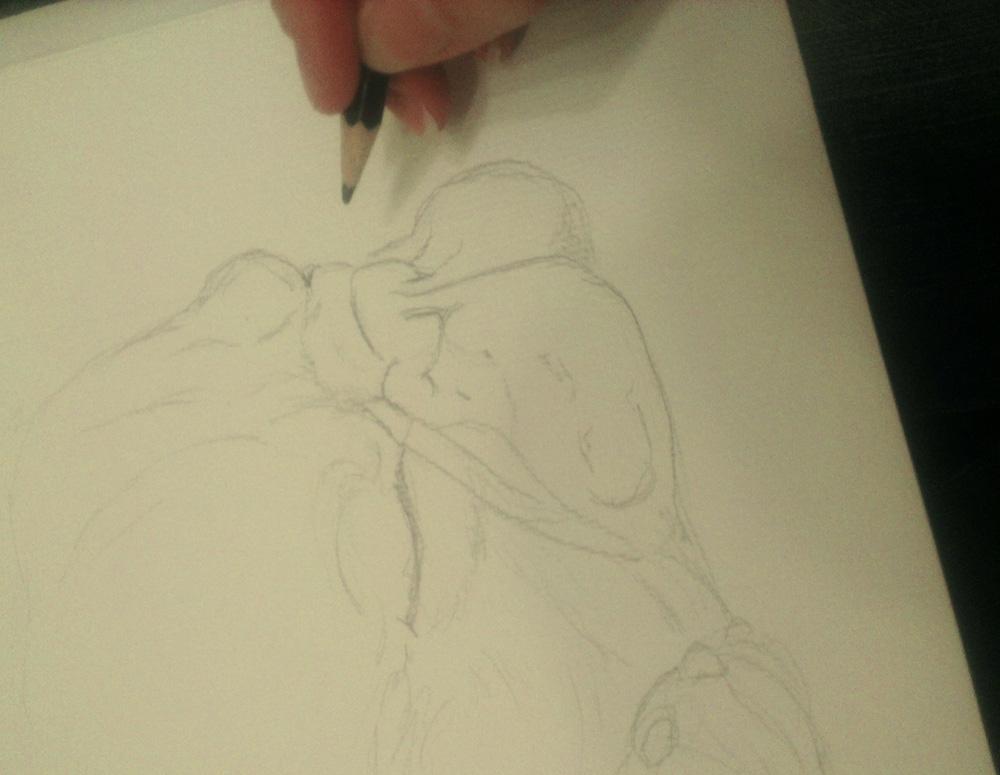 Bleistiftskizze auf dem rauen Aquarellpapier.