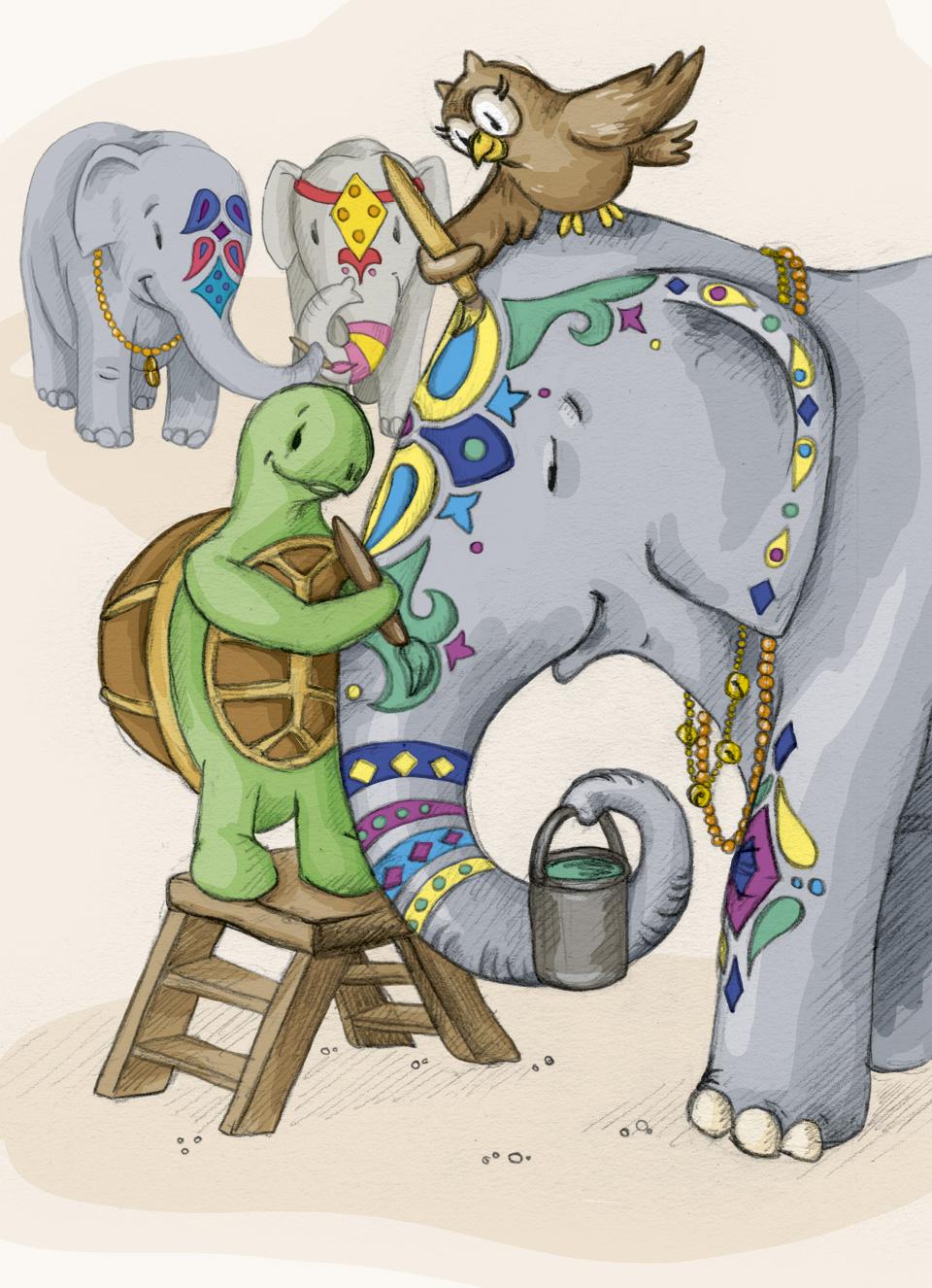 Schuhuu malt ganz oben, Kröt brauch eine Leiter  um Rajesh zu helfen – ganz bunt soll er sein zum Elefantenfestival.