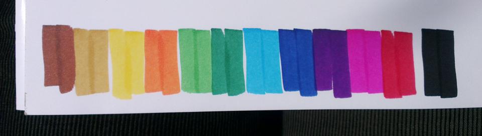 Die Farben auf dem Papier.