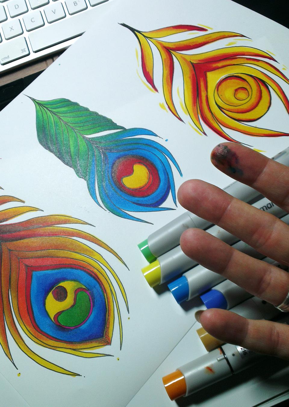 """Feathers"" – Bunte Farben, bunte Finger."