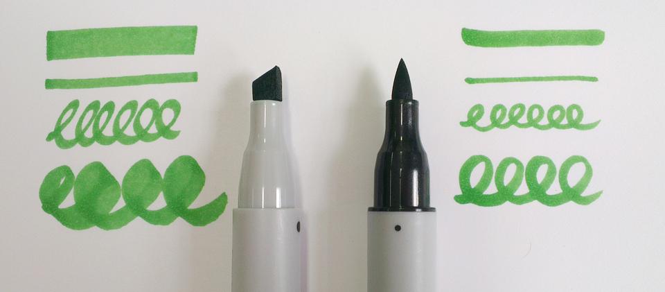 Die beiden Spitzen der Marker: Keilförmig und fest gegen Brush und weich.