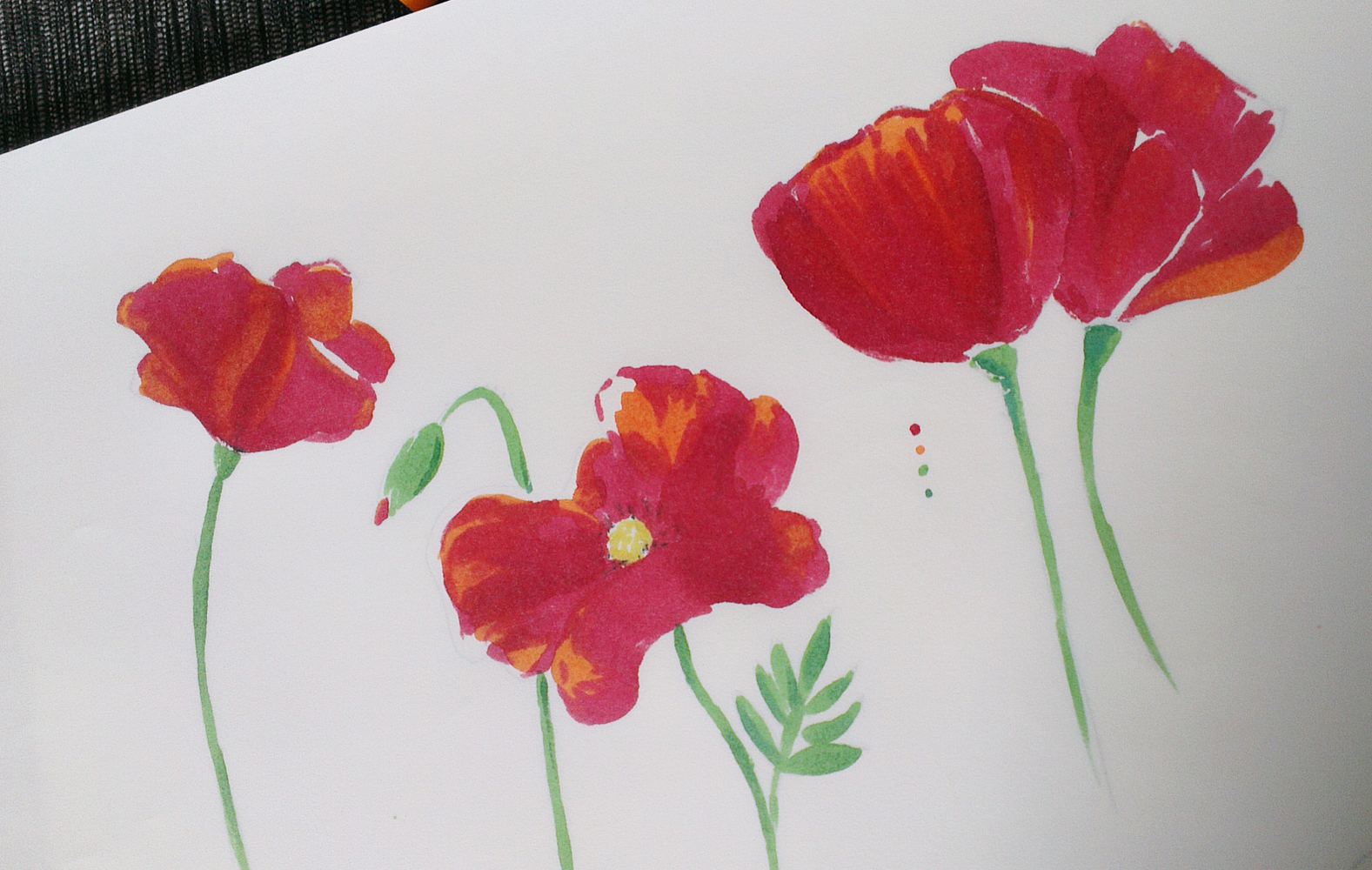 Die Rückseite des Papiers – Die Farben scheinen durch, bluten aber nicht auf die folgenden Blätter im Block.