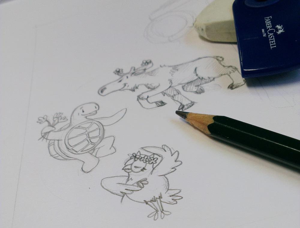 Ausarbeitung der Skizzen – Die tanzenden Tiere.