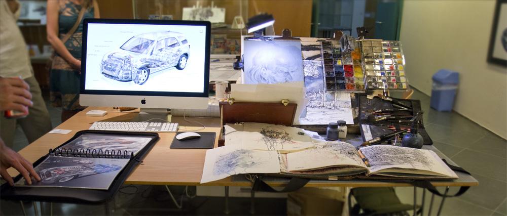 Zwei Welten – Digitale Arbeit von Davon Parsons vs. dem analogen Skizzenbuch von Christian Weber.