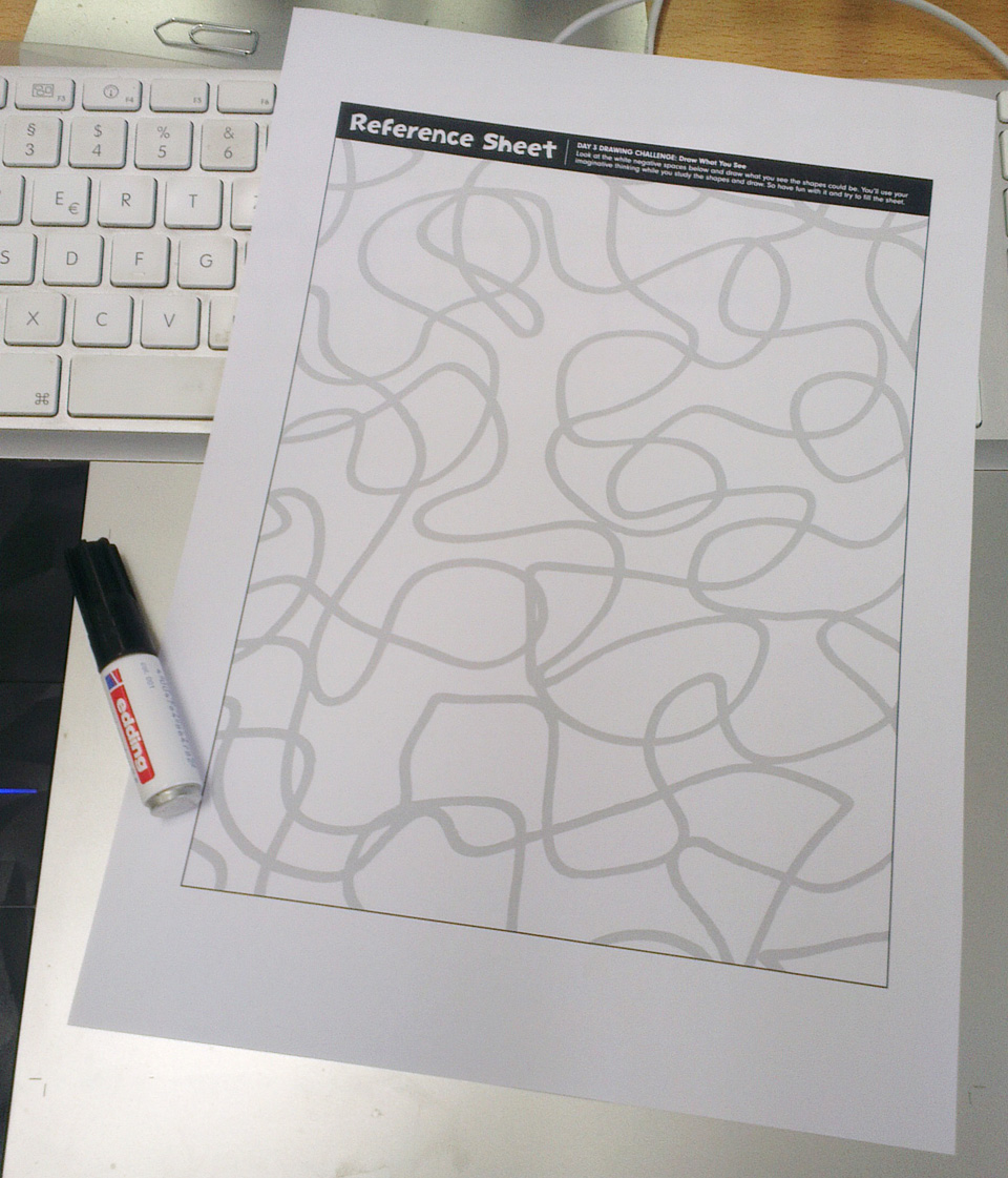 Die Vorlage zum Ausdrucken – Ein A4 Blatt mit hellgrauen, geschwungenen Linien die sich immer wieder kreuzen.