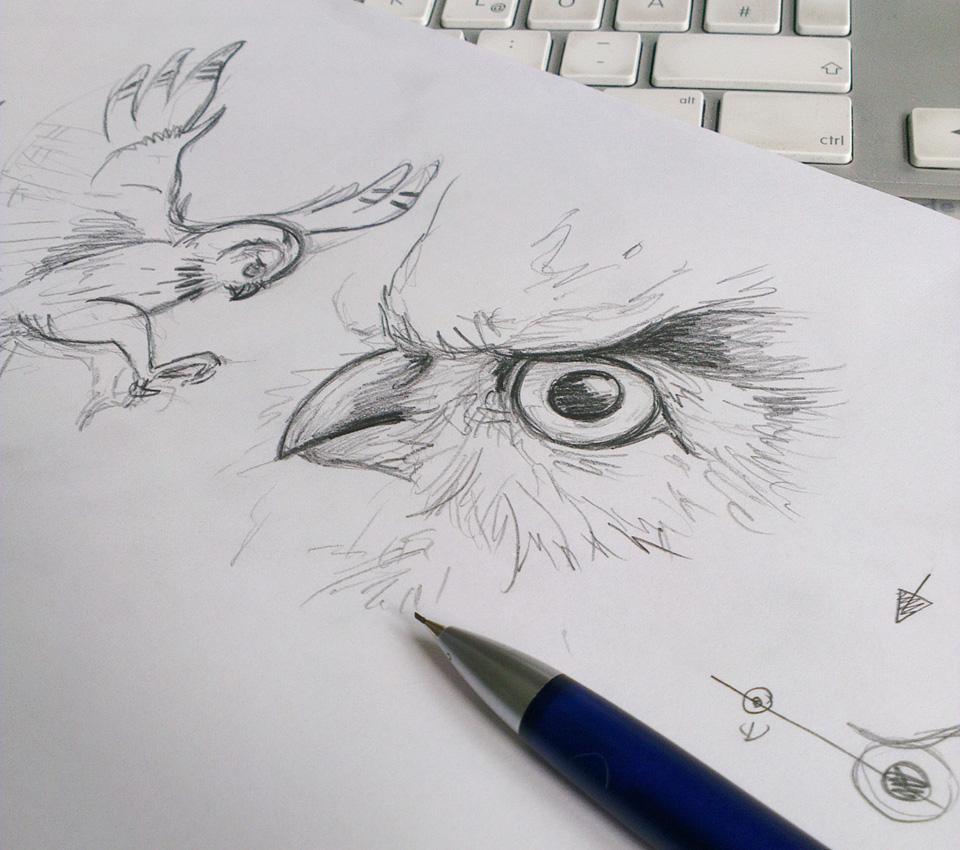 Die Vorskizze mit den beiden Vögel.