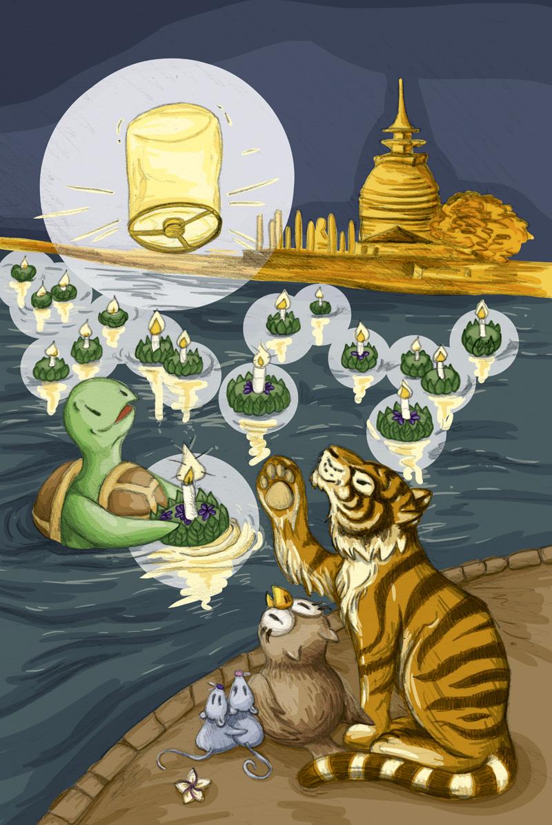 """""""Uiii, sooo viele Lichter"""", die Freunde kommen gar nicht mehr aus dem Staunen raus bei Loy Krathong."""