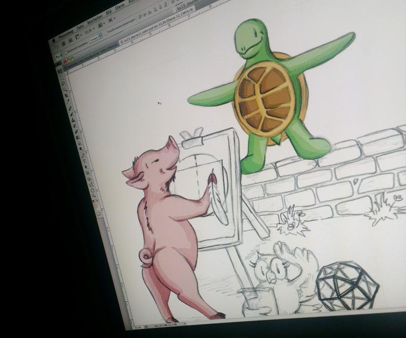 Wer erkennt das kluge Schwein? – Coloration der Beistiftzeichnung in Photoshop.