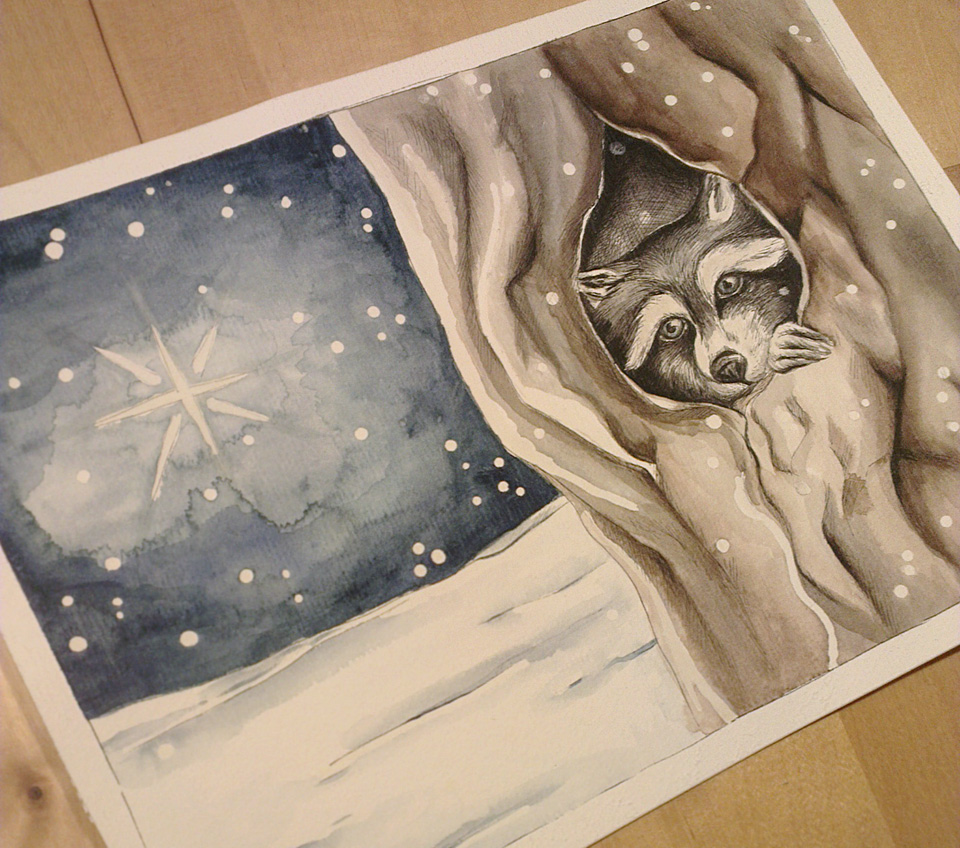 """Waiting for Christmas"" - Der Waschbär im Baum aus der Aquarell-Serie."