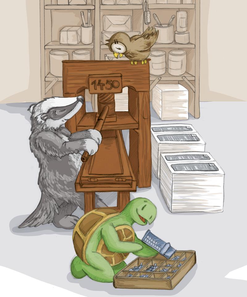 Der Dachs Gutenberg zieht fest um die Druckerpresse zu schliessen – und schon ist der nächste Bogen gedruckt!