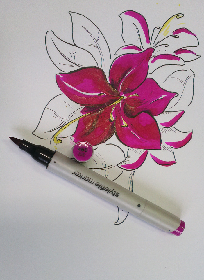 Und noch eines: Bei Stylefile gab es einen der Brushmarker für die Standbesucher - Azalea Purple hier im direkten Versuch.
