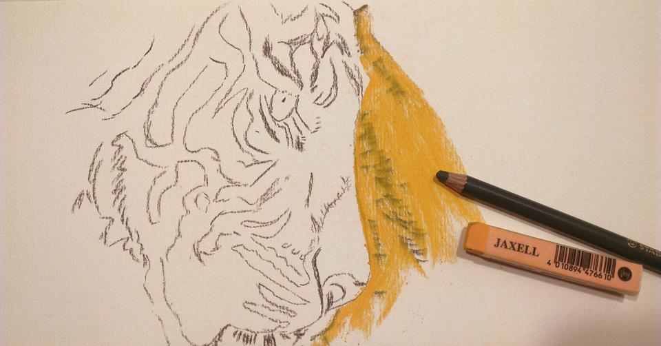 Vorzeichnen der Linien mit einem Pastellstift und die erste große Farbfläche.