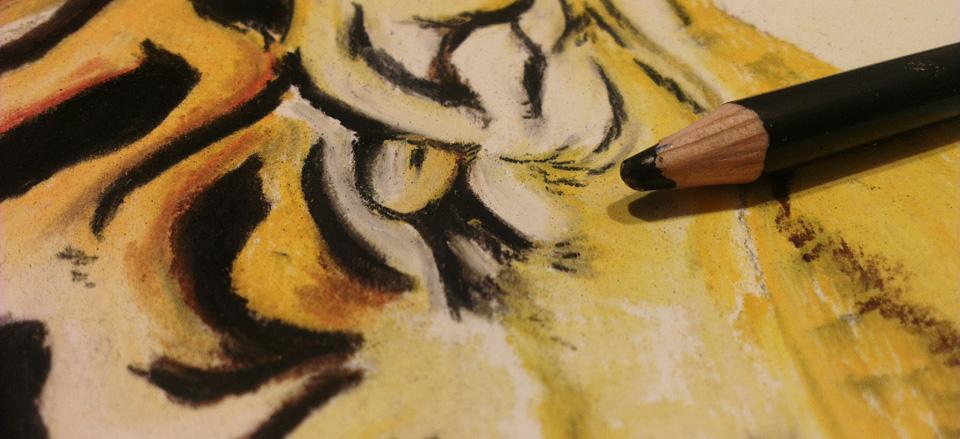Details lassen sich gut mit dem Pastellstift herausarbeiten.