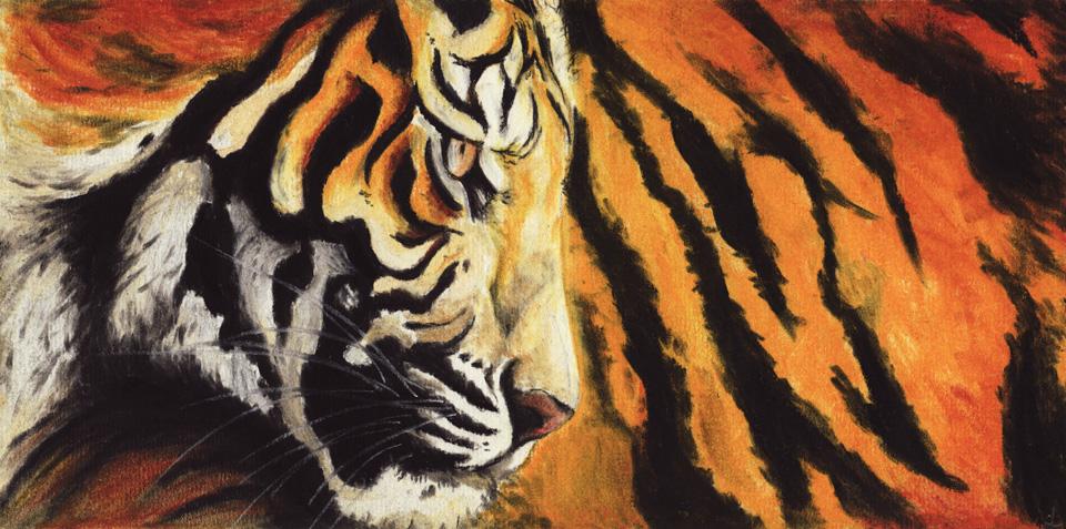 Der Scan des ferigen Bildes des Tigers auf dem PastellFix Papier von Hahnemühle.
