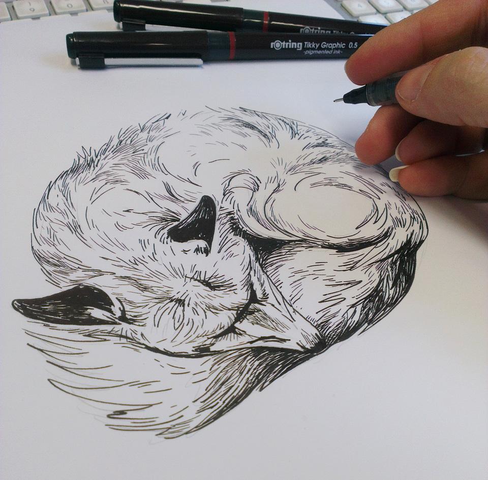 Die erste Zeichnung mit den Tikky Graphic Stiften von Rotring.
