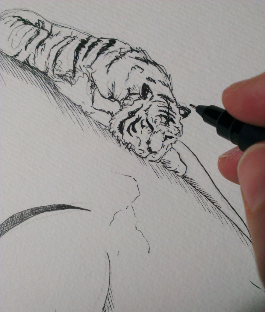 Erste Ausarbeitung der Bleistiftskizze mit Finelinern.