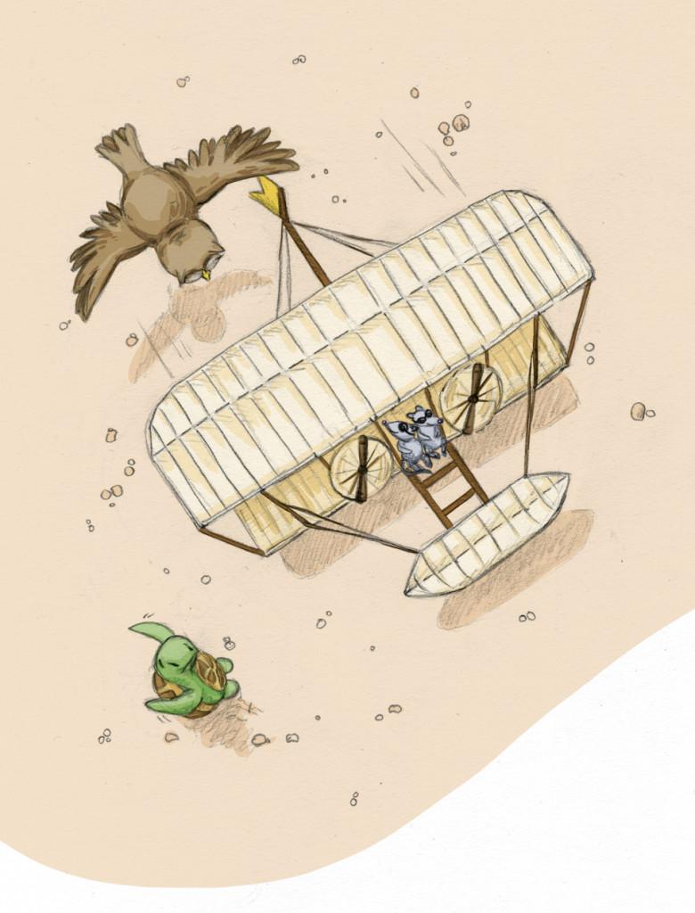 Ein paar Meter über dem Boden, aber er fliegt - Der Gleiter der Gebrüder Wright.
