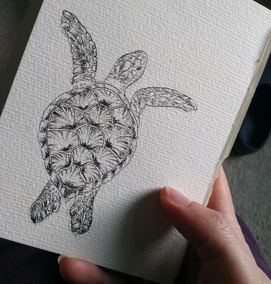 Ausarbeitung der Skizze mit Tuschestift.