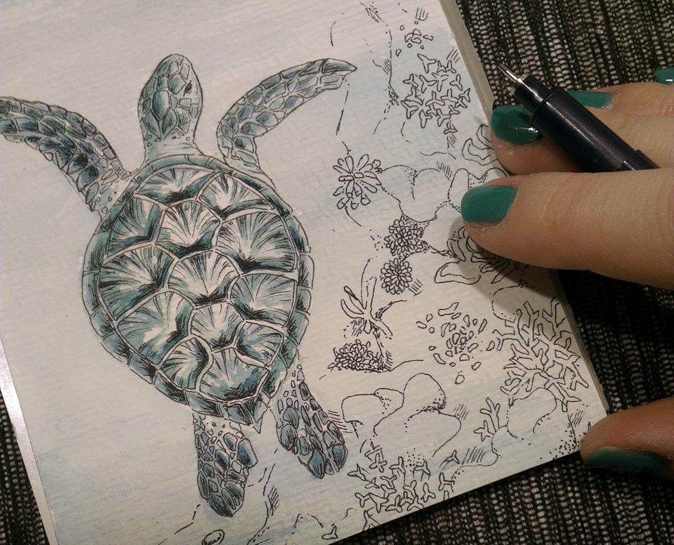 Mehr Hintergrund! Freie Zeichnung von Korallen mit Fineliner.