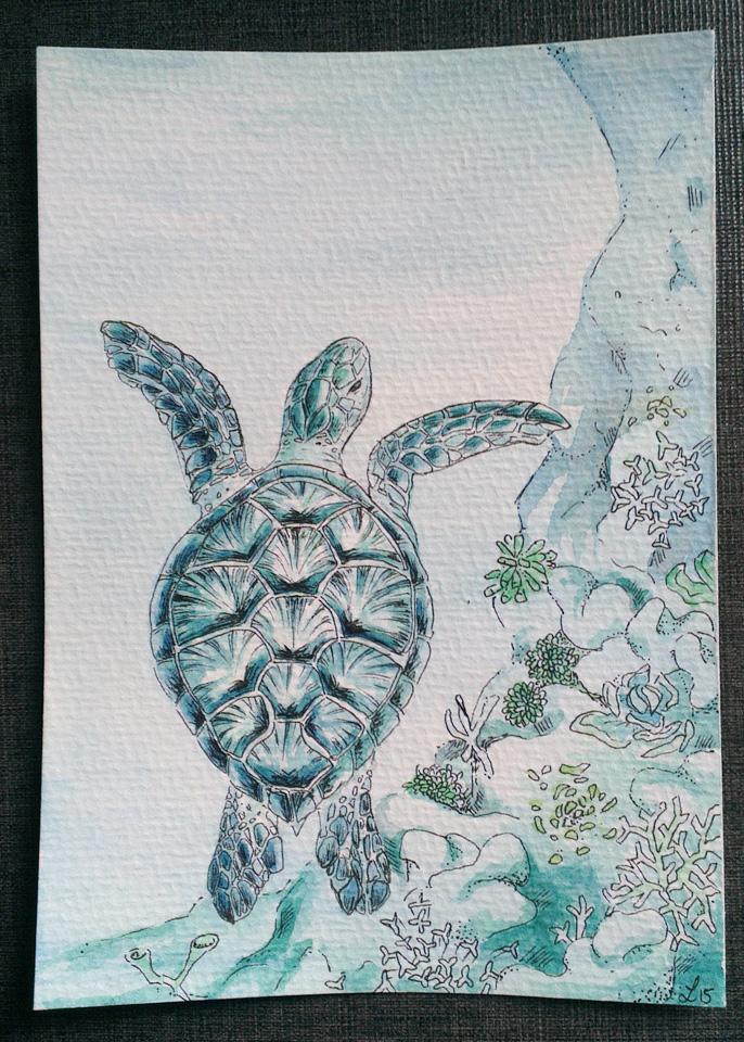 """Mein Beitrag zum Mailart Projekt """"Turquoise"""" – eine Karettschildkröte über dem Korallenriff."""