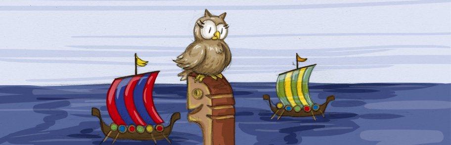 Schuhuu und die bunten Segel der Wikingerschiffe.