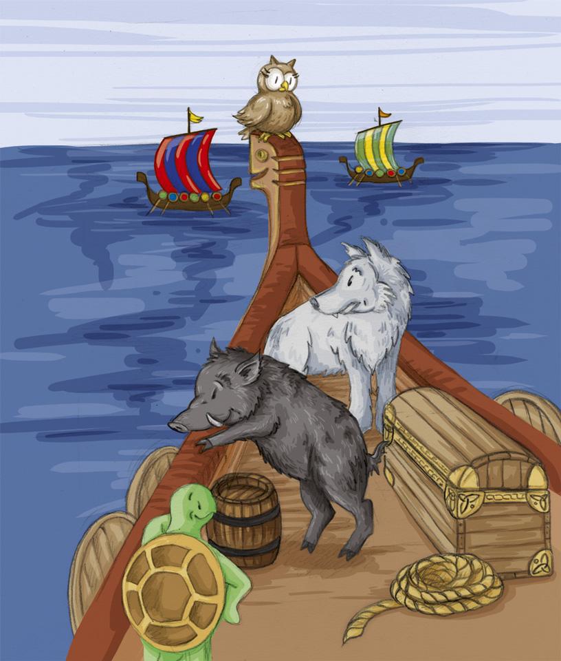 Zwei Wikinger werden sich nicht einig wohin die nächste Schiffsreise gehen soll: ins Mittelmeer nach Konstantinopel oder doch in unbekannte Gewässer gen Westen?