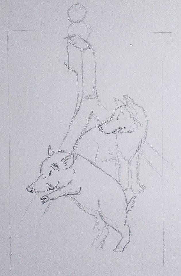 Der Anfang der Bleistift-Zeichnung: Noch ist die Eule nur ein kleiner Kringel.