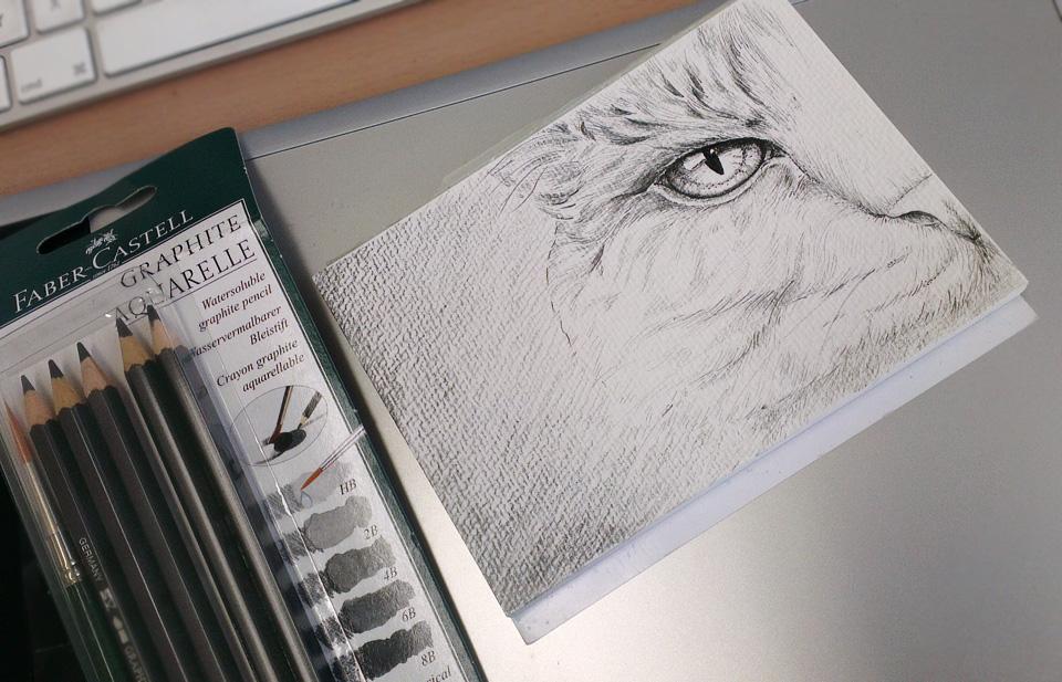 Die Härtegrade der Stifte machen sich weniger beim Auftrag oder der Zeichnung bemerkbar - dafür aber umso mehr, wenn man diese mit Wasser übermalt.