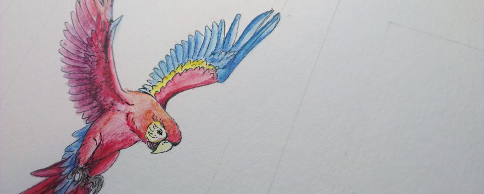 Das Vermischen der Pigmente auf dem Papier lässt sich gut umsetzten.